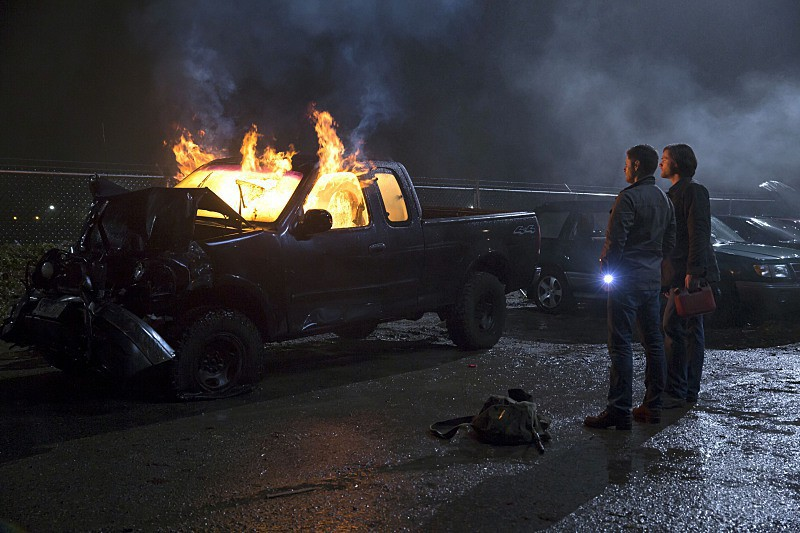 10x13 Dean & Sam car on fire