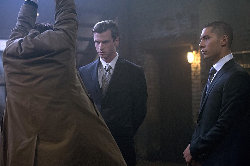 "Supernatural -- ""Form and Void"" -- Image SN1103B_0027.jpg -- Pictured (L-R) : Misha Collins as Castiel, Dylan Archambault as Efram and Albert Nicholas as Jonah - Photo: Carole Segal/The CW -- © 2015 The CW Network, LLC. All Rights Reserved."