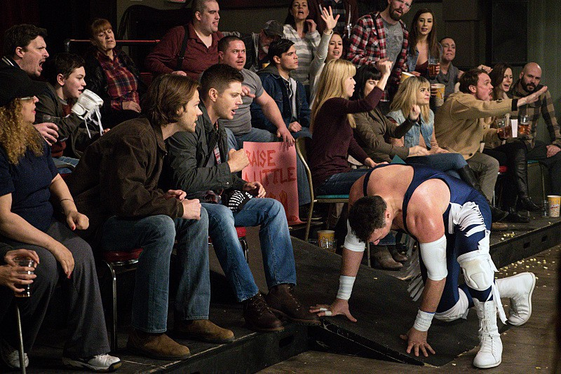 11x15 Beyond The Mat Jared Padalecki as Sam, Jensen Ackles as Dean, and Aleks Paunovic as Gunnar Lawless