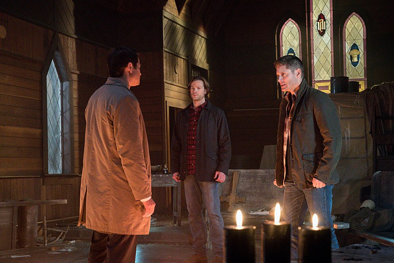 11x18 Hell's Angel Misha Collins as Castiel, Jared Padalecki as Sam and Jensen Ackles as Dean
