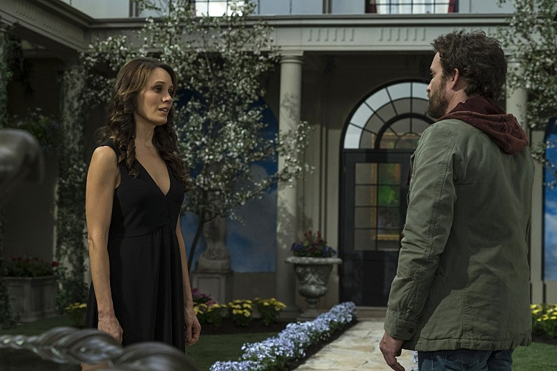 11x21 Alpha and Omega season finale Emily Swallow as Amara and Rob Benedict as Chuck Shurley god