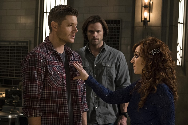 11x23 Alpha and Omega season finale Jensen Ackles as Dean, Jared Padalecki as Sam and Ruth Connell as Rowena